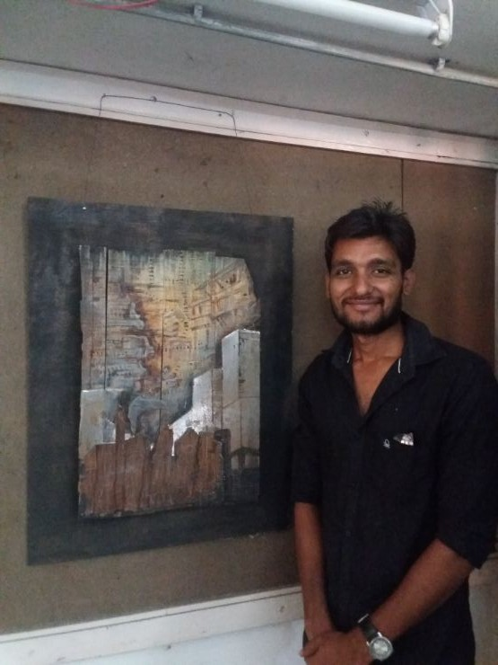 Abhishek Dodiya Painting Competition winner Sheth CN College of Fine Arts