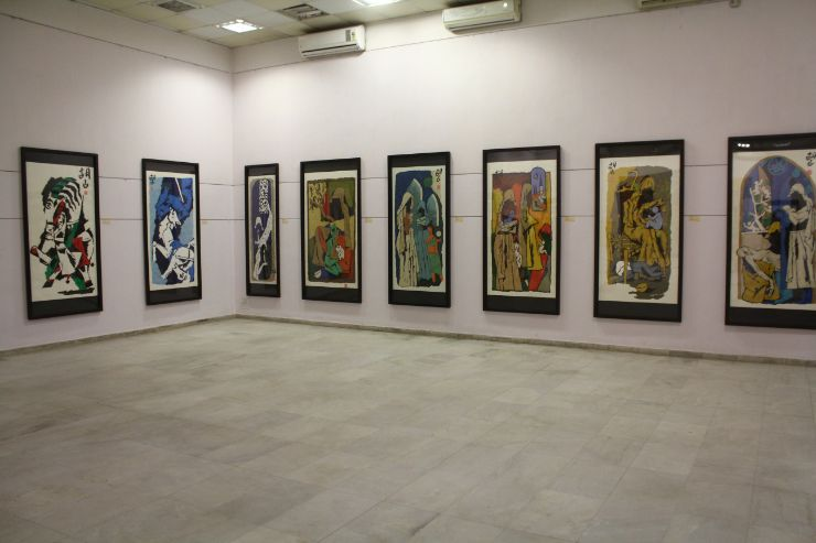 m f husain Painting Exibition