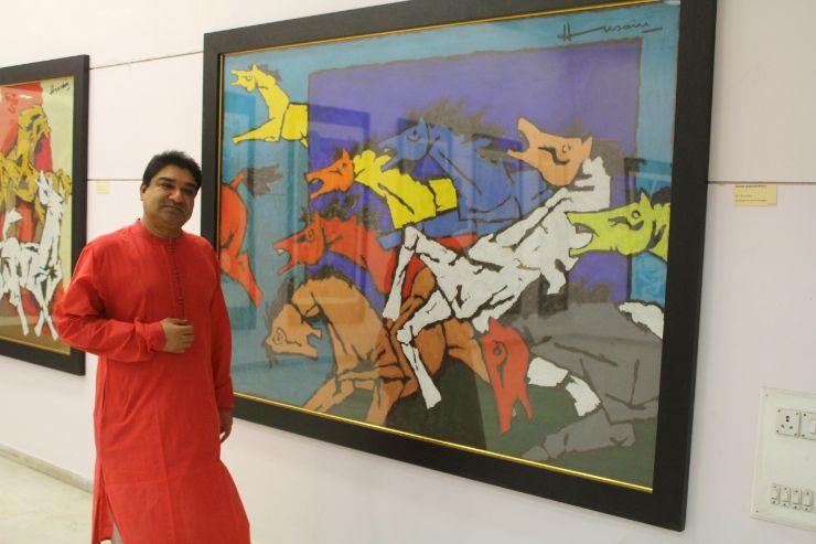 Shri Umang Hutheesing , M F Husain's Painting at Exhibition