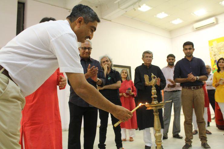 Shri Anil Relia, M F Husain's Art-exhibition