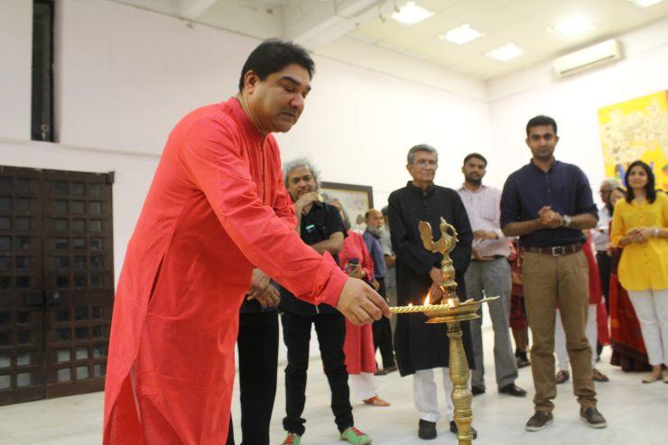 Shri Umang Hutheesing at M F Husain's Art-Show