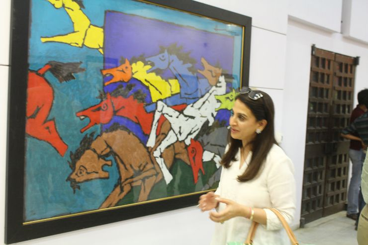 Sonal Ambani and ardent art appreciator, M F Husain's Art-Show