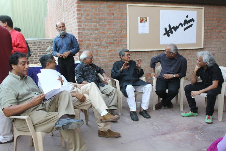 Artists of Ahmedabad Discussing Art, At M F Husain's Art-Show