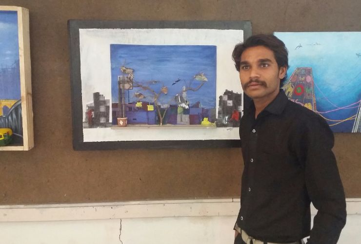 gopal parmar Painting Competition winner Sheth CN College of Fine Arts