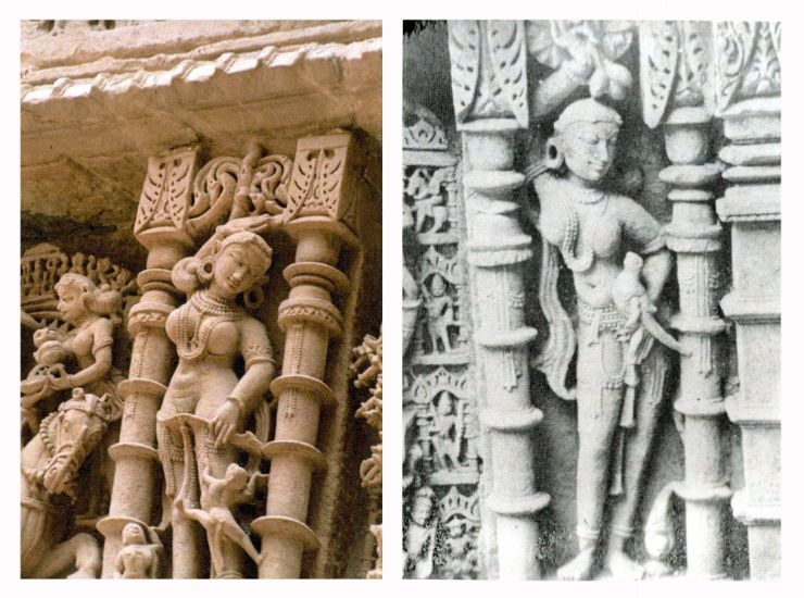 Sculptures at Queen's stepwell at Patan. (Left) Maiden with a monkey climbing up her left leg, (Right) Maiden with parrot. From Purnima Mehta Bhatt's 'Her Space, Her Story', taken by Daniel Del Solar. women, goddess, animal and women, nature, prakriti, ancient, historical, heritage