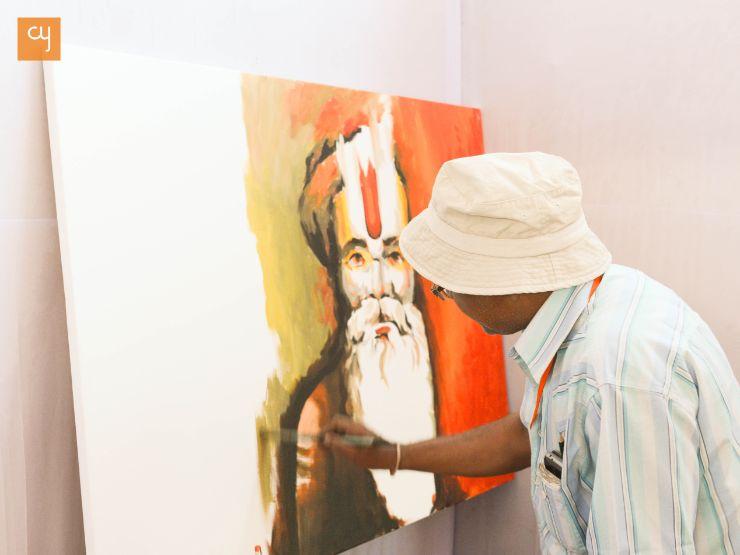 kumbh mela, simhasth, ujjain, artist, art, painting, painting of sadhu, live painting, art at kumbh, master pies, day 5 kumbh