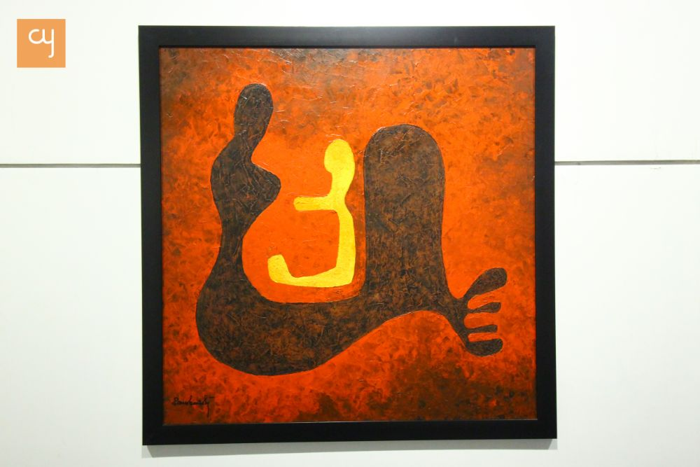 Mother and child, abstract art, Romesh Mistry
