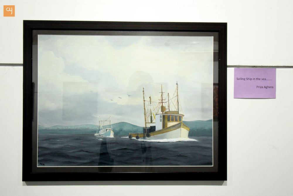 Priya Aghera, Sea, Sun, Sand, Beach and Boat in The Ocean Painting