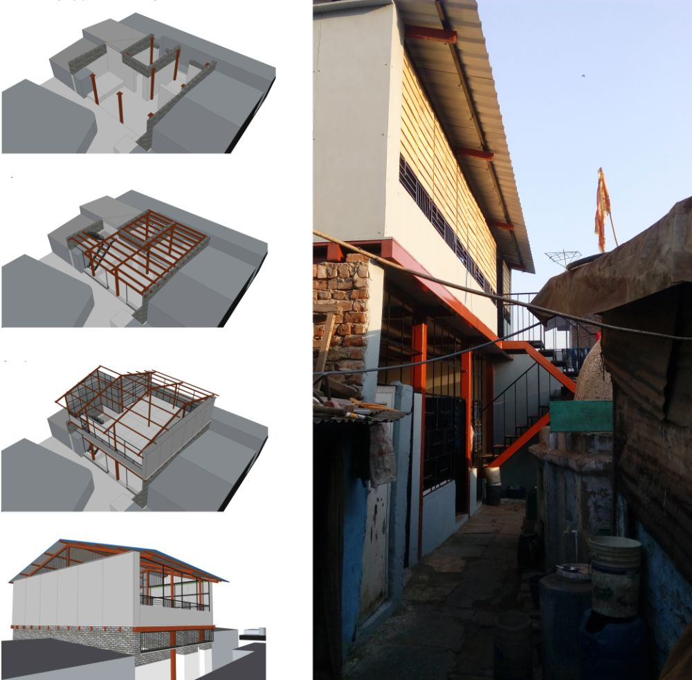 3D visuals and the building during construction