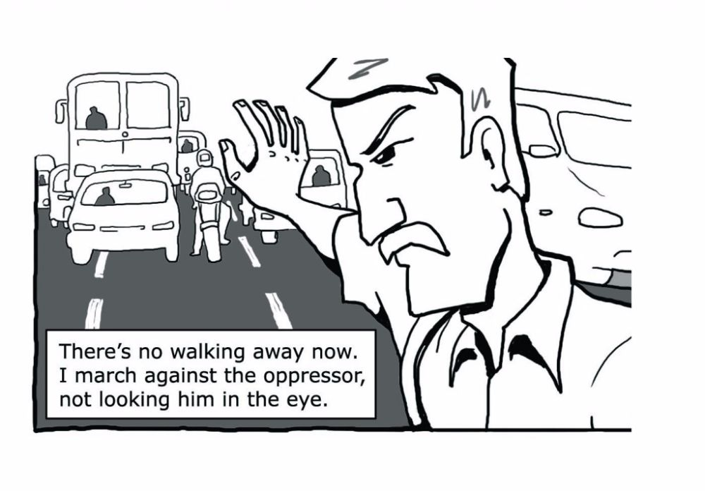 From 'Pedestranged', a comic about the right to walk in our cities. This piece was first published on Dec 12, 2012, in 'The Small Picture' in the newspaper edition of HT Mint.