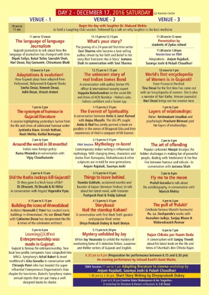 Gujarat Literature Festival 2016 schedule Day 2