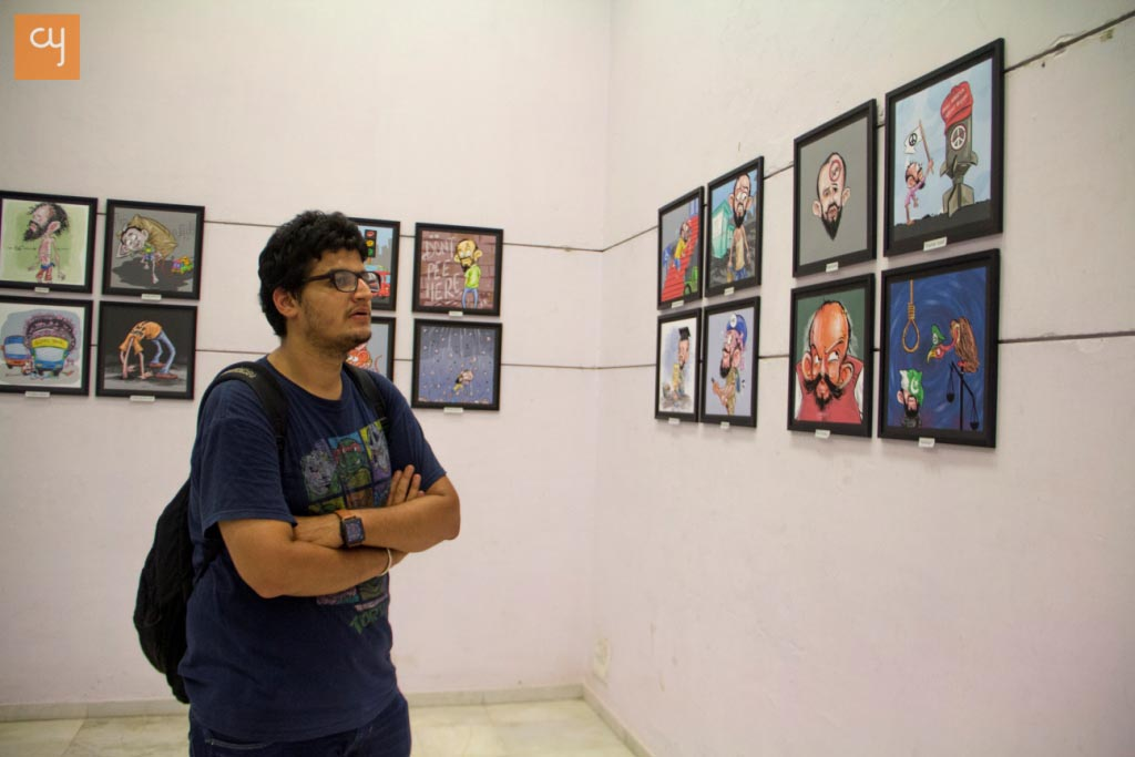 ashok-adepal-cartoon selfie-exhibition at Hutheesing Centre