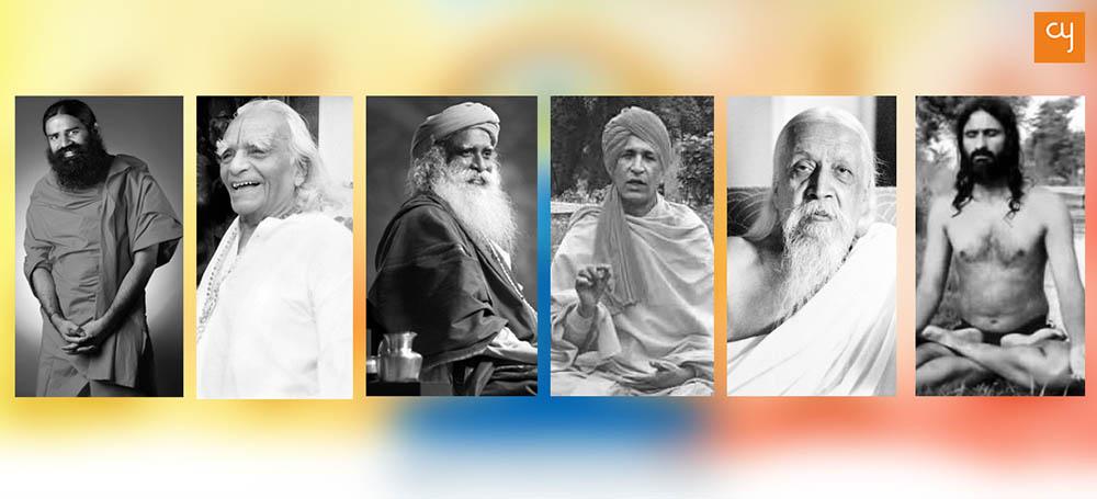 From L-R : Baba Ramdev, BKS Iyenger, Sadhguru, Bharat Bhushan, Sri Aurobindo