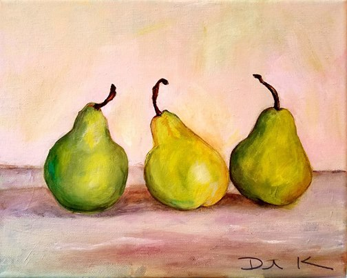 girls-night-out-pears-still-life-in-acrylic-charlotte-fine-arts-gallery
