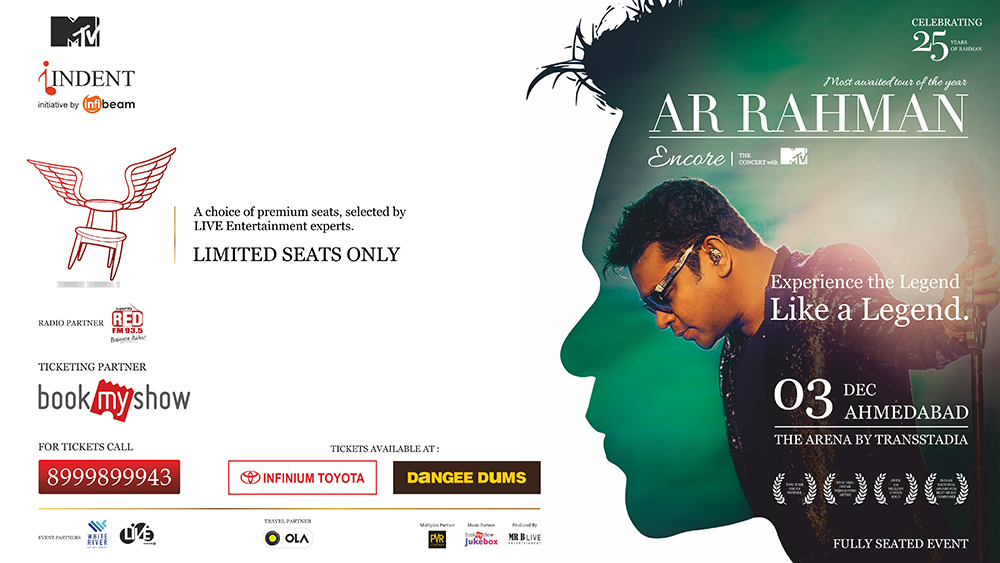 AR Rahman Encore the concert with MTV, Ahmedabad - SPECIAL VIP TICKETS