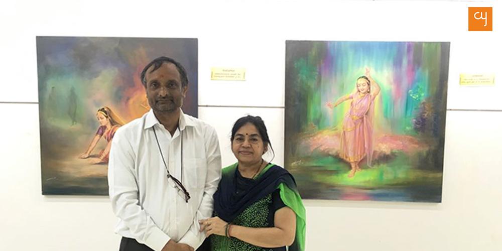 Navin Soni and his wife at Ashta-Nayika and Rasvandana exhibition