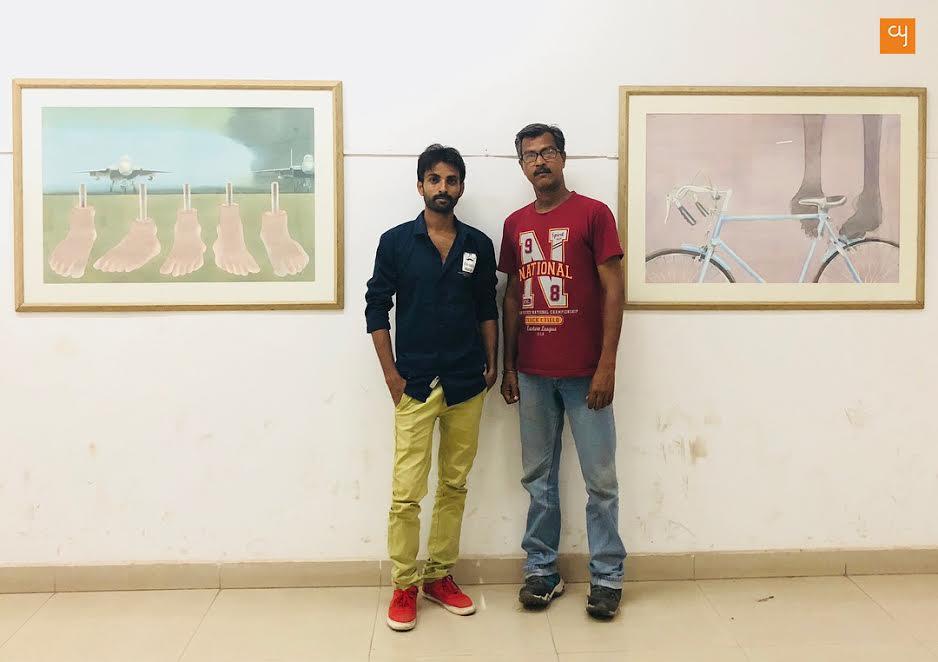 Artists Raju Baraiya and Raju Patel at Ravishankar Raval Kala Bhavan