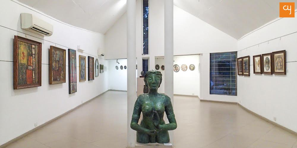 Bronze sculpture of The Green Lady at Kanoria Centre for Arts