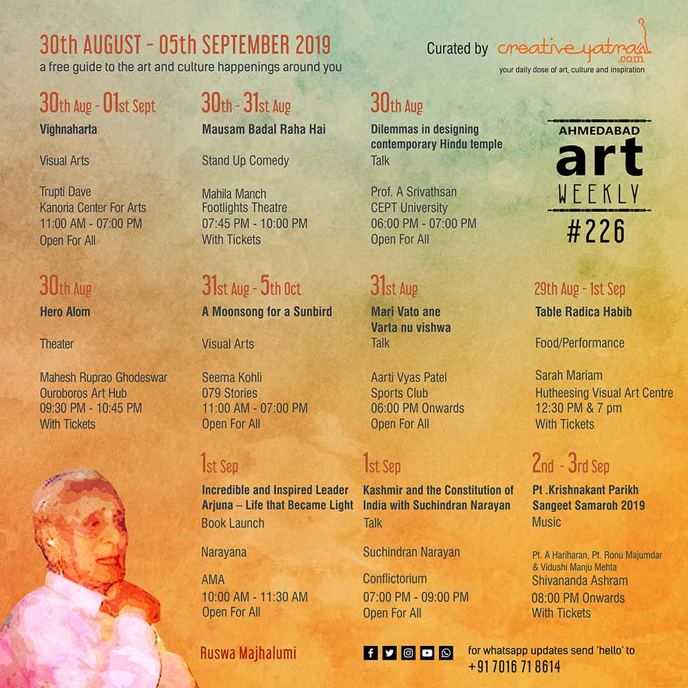 Things to do in Ahmedabad : Find out in Art weekly #226