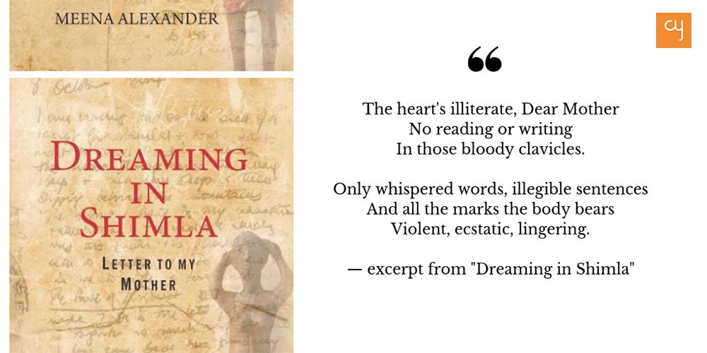 "Book Cover with an excerpt from the poem: ""Dreaming in Shimla: Letter to My Mother"