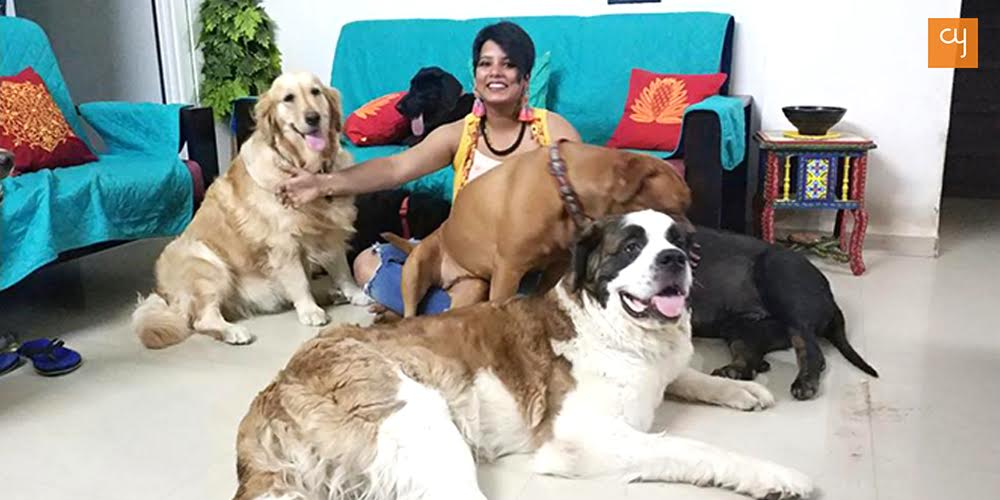 Richa at her home with her wards.