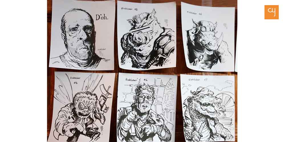 Drawings made by tattoo artist Luke Schroeder as a part of Inktober challenge