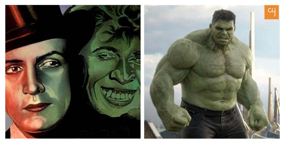 Dr. Jekyll and Mr. Hyde (left); Hulk (right)