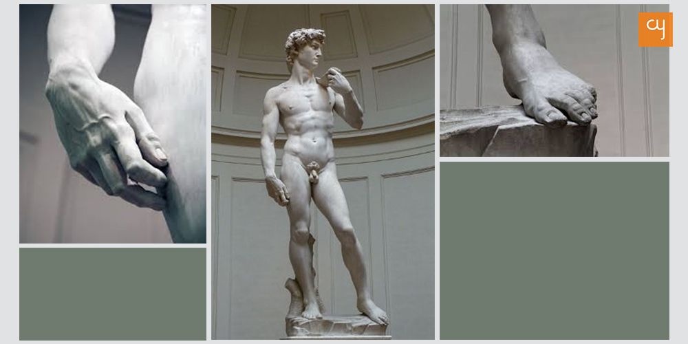 The statue of David made from a single slab of marble