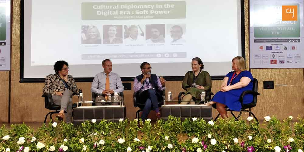 The panel for Cultural Diplomacy in the Digital Era. From left to right: Frederick Lavoie, Gael de Kerguenec, Asad Lalljee (moderator), Alison Reilly and Sarah Ziebell